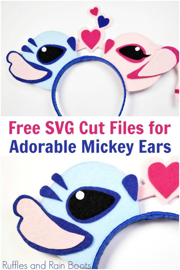 with text which reads free svg cut files for Adorable Lilo and Stitch Minnie ears from Ruffles and Rain Boots