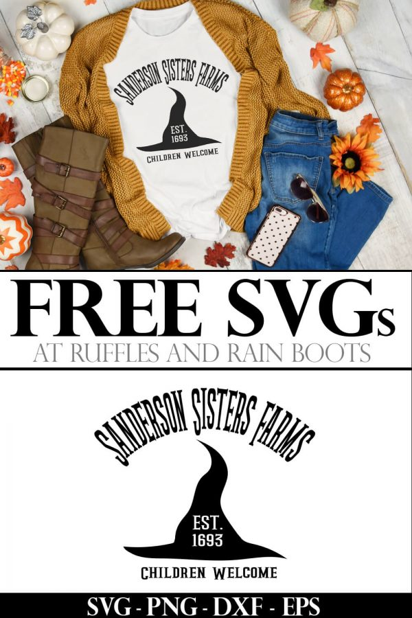 Sanderson Sisters farm Hocus Pocus svg placed on white tshirt with fall background with text which reads free svgs at ruffles and rain boots