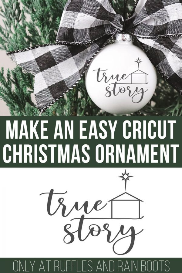 easy vinyl Christmas ideas to use the true story svg with manger and star on ornament