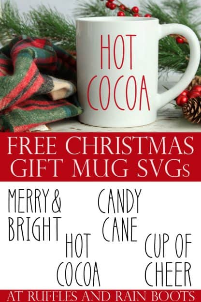 collage of Christmas mug made with free SVG files for Cricut or Silhouette
