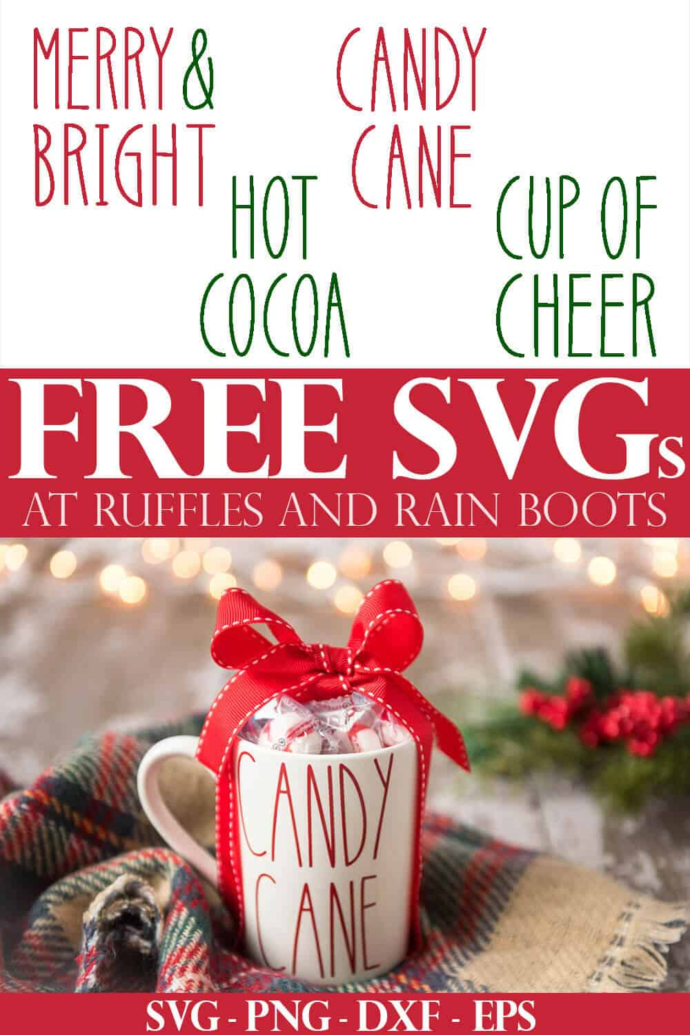 collage of free Christmas SVG files for making holiday mugs