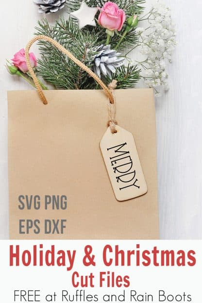merry SVG used to make a gift tag for package adorned with greenery and ornaments on white background with text which reads holiday and Christmas cut files