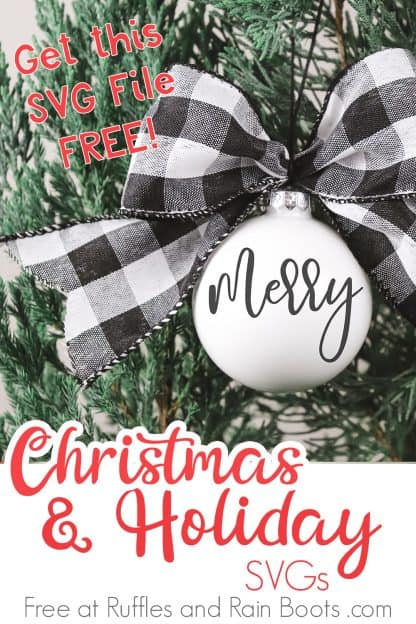 bright white ornament with black and white Buffalo check bow hanging on tree made with a merry SVG with text which reads Christmas and Holiday SVGs free at Ruffles and Rain Boots