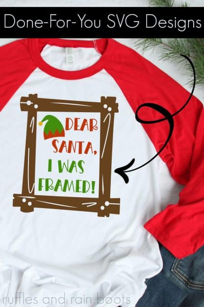 close up of Dear Santa Svg for Christmas crafts on white t shirt