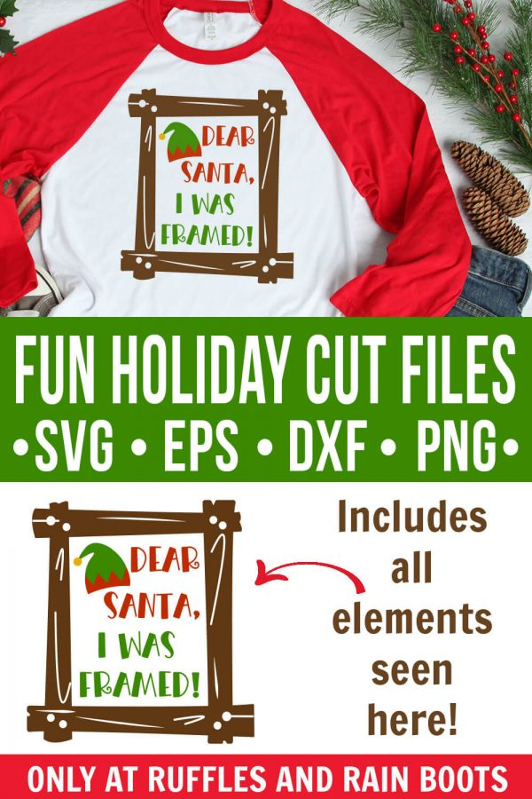 collage of Christmas SVG with text which reads fun holiday cut files