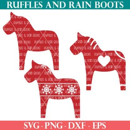 three styles of red Scandinavian Dala horse svg files on white background
