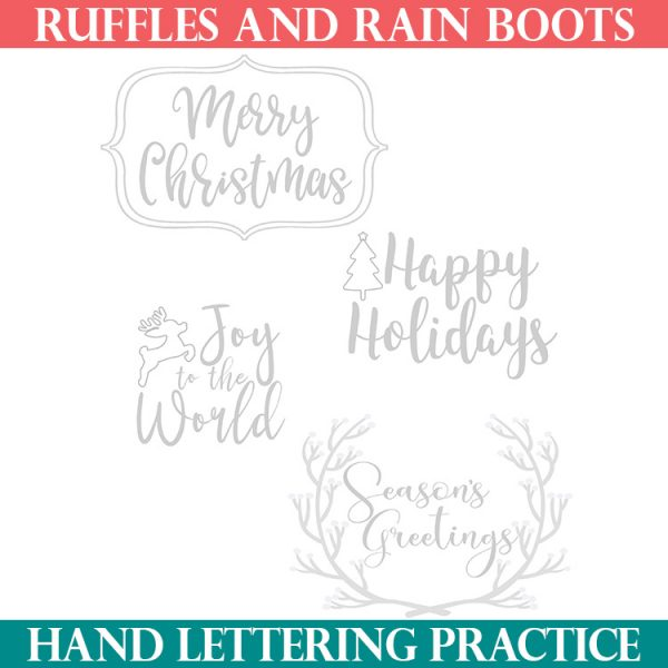 square image of sample of free Christmas hand lettering practice with brush pens
