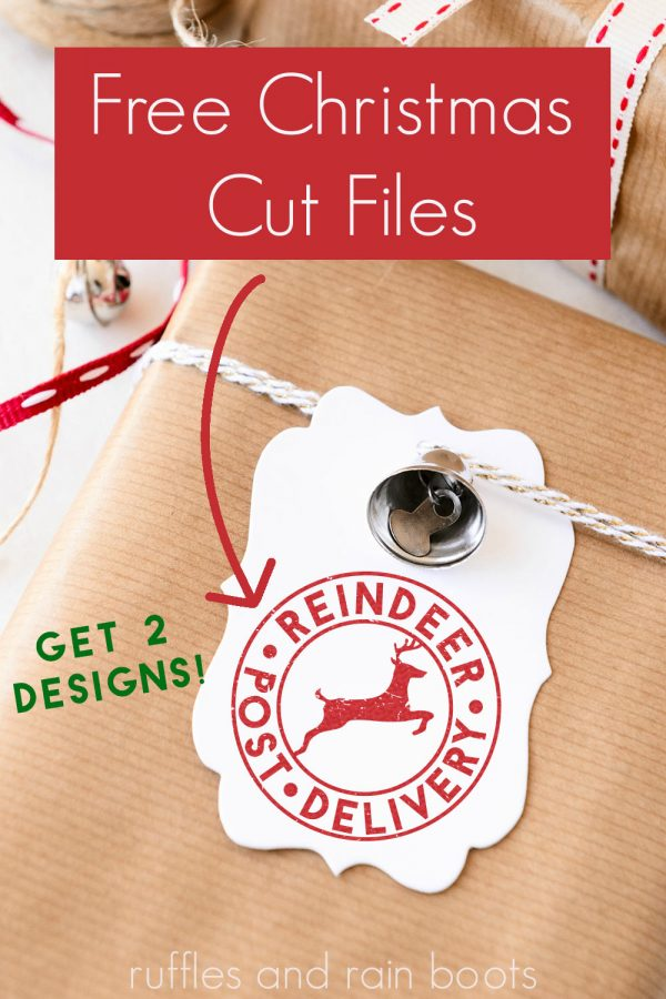 simple gift tag print and cut with free Christmas SVG