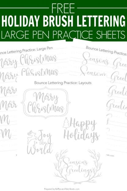 Christmas lettering practice large brush pen with text overlay which reads free Holiday Brush lettering practice