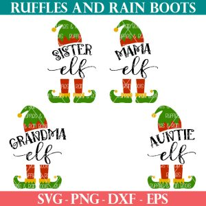 4 red green and yellow elf family svg files on white background