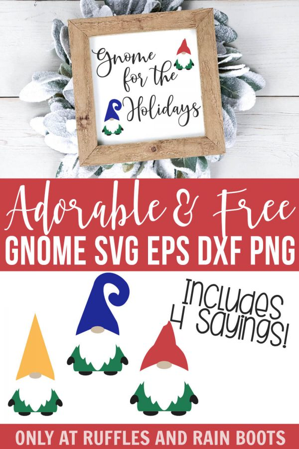 holiday gnomes svg placed on frame in vinyl on winter background with text which reads adorable and free gnome svg