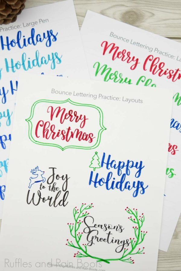 colorful hand lettered Christmas practice sheets for brush pens