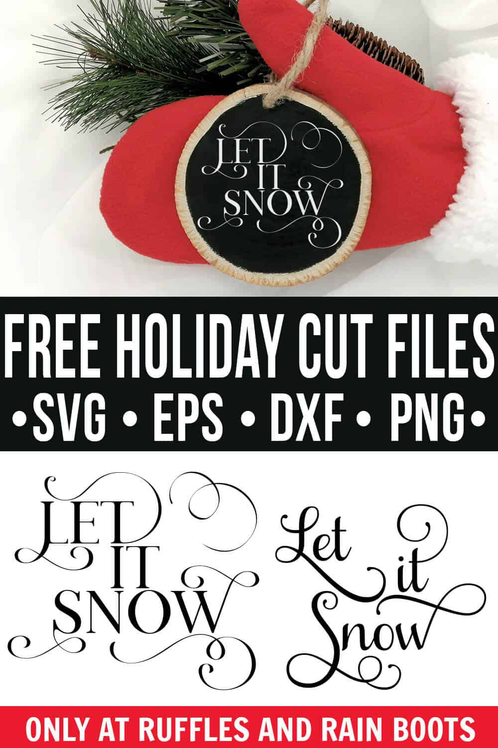 collage of free holiday flourish let it snow svg on ornament