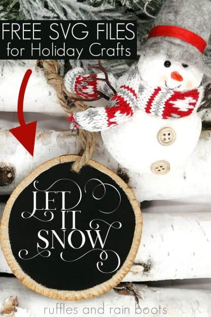 Christmas scene with black ornament with free let it snow svg in a hand lettered flourish with a snowman