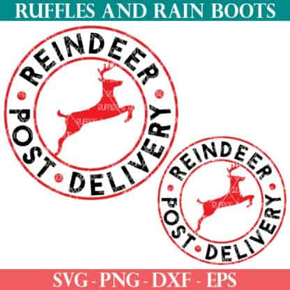 2 styles of free Christmas svg for reindeer post delivery Santa sack