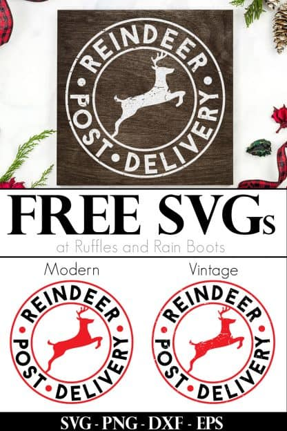 Christmas wood sign idea made with Cricut using free reindeer post delivery SVG