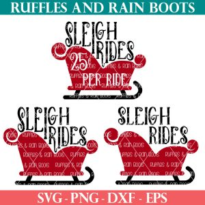 3 different sleigh ride SVG designs for Cricut and Silhouette