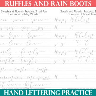 large set of Christmas brush lettering practice sheets