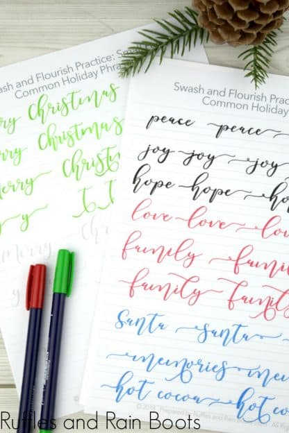 Christmas hand lettering for small pen practice sheets