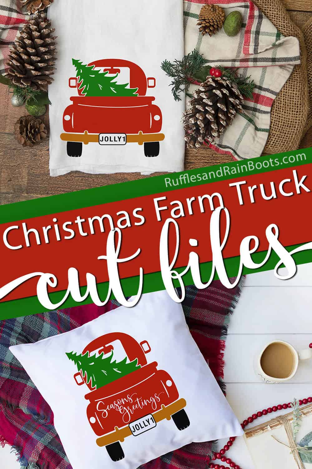 collage of Christmas back of red truck svg used on pillow and farmhouse flour sack towel