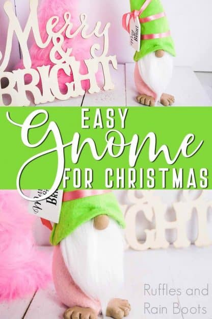 pink and green holiday gnome with merry and bright svg tag with text which reads easy gnome for Christmas