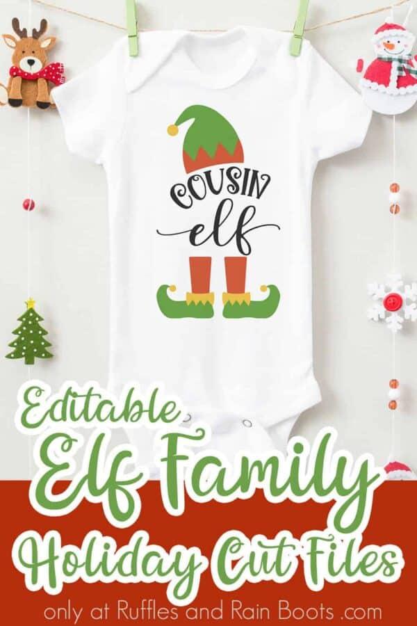 adorable baby onesie with cousin elf family svg vinyl tranfser