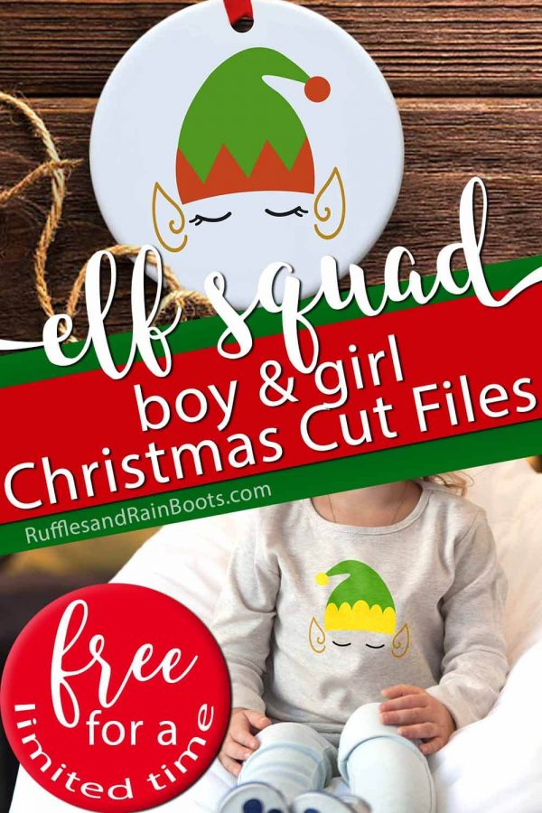 collage of elf squad svg set with text which reads elf squad boy and girl Christmas cut files