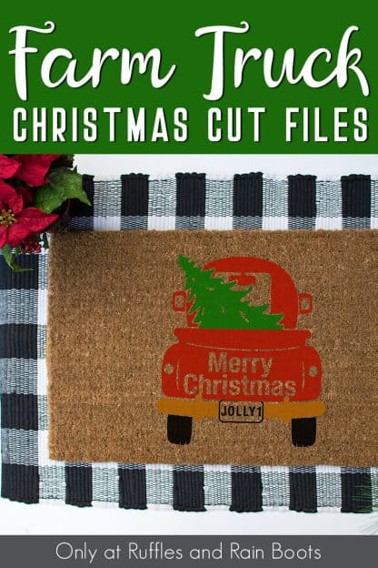 adorable Christmas welcome coir door mat made with Christmas red truck SVG