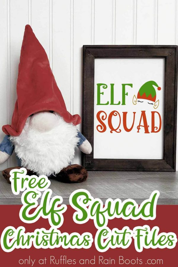 green and red elf squad SVG on frame with gnome and wall background