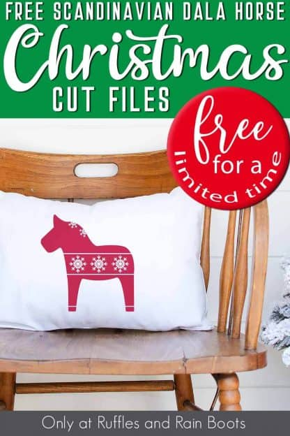 dala horse svg on white pillow on wood chair with text which reads free dala horse Christmas svg