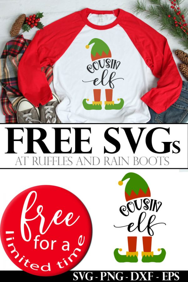 collage of free elf family svg used on red and white t shirt on Christmas background with the text which reads free svg