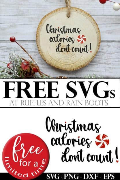 collage of free Christmas calories SVG and wood Christmas ornament idea using Cricut and cut file