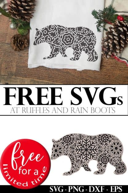 polar bear mandala svg on holiday towel with text which reads free svg