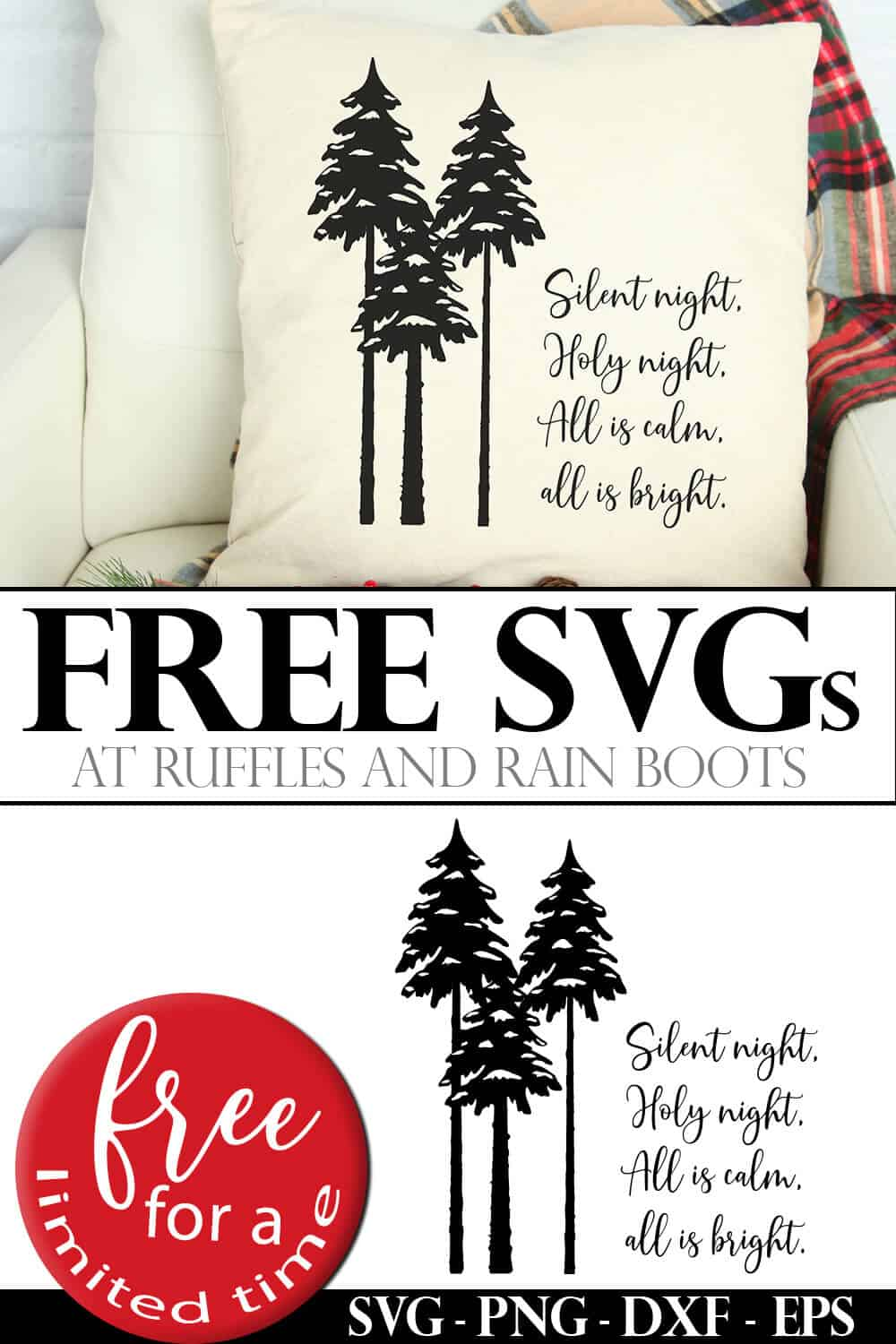 adorable Cricut project pillow made with free Silent Night SVG from Ruffles and Rain Boots