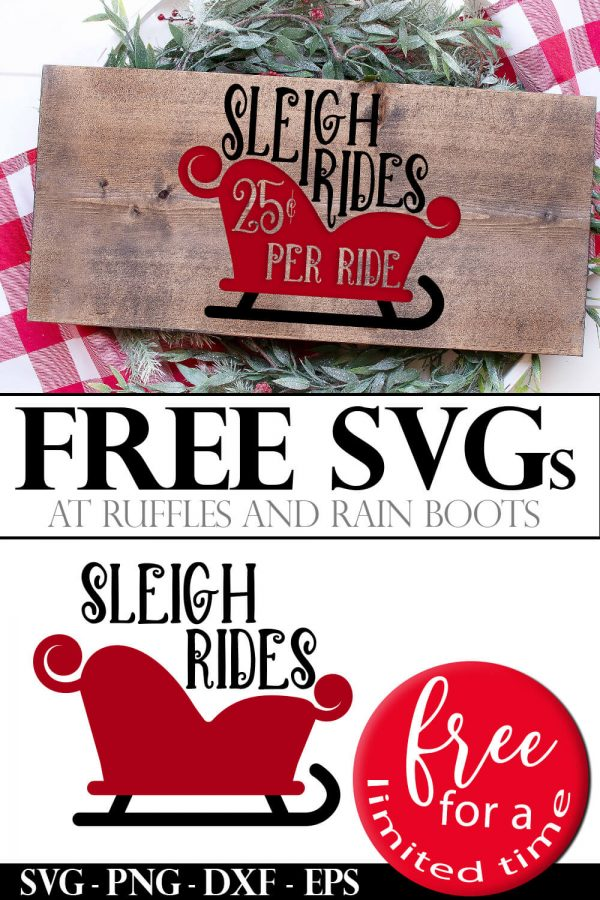 red sleigh ride svg in vinyl on wood plank free for a limited time collage