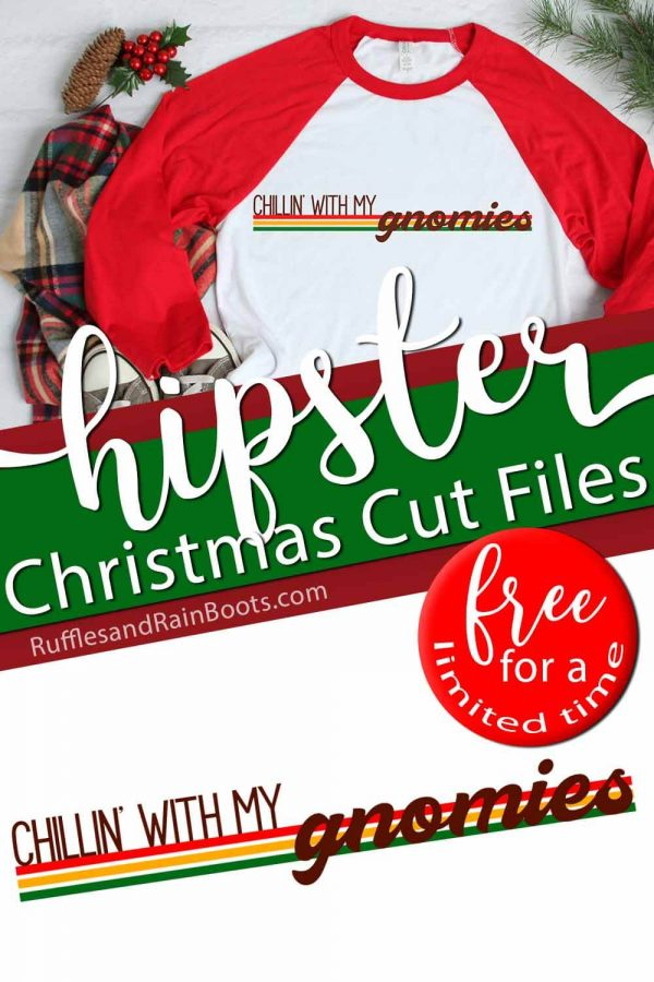 vintage hipster Christmas svg on red and white t shirt with text which reads free for a limited time hipster Christmas cut files