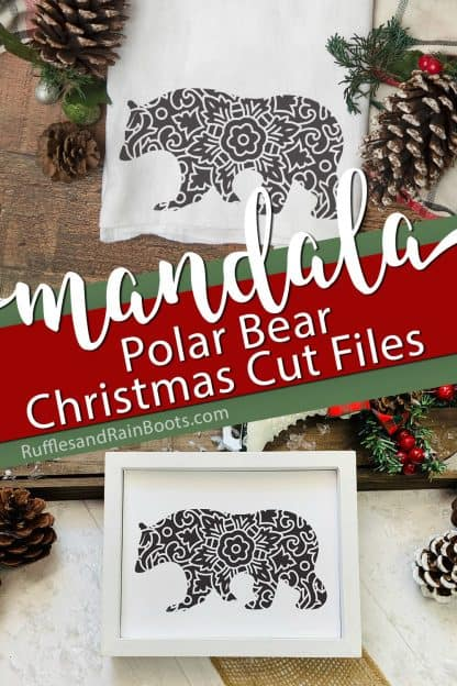 two Polar Bear Mandala SVG cut files on towel and in holiday sign with text which reads mandala polar bear Christmas cut files