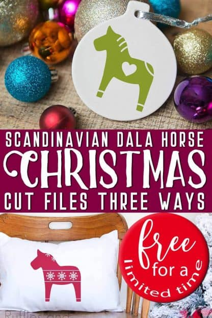 collage of pillow and ornament made with a Scandinavian Dala horse SVG and Christmas cut files