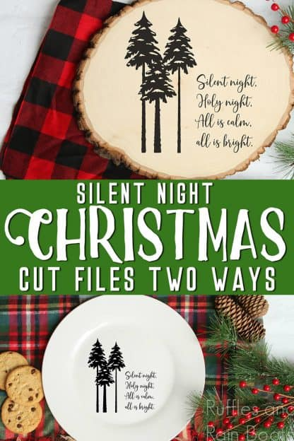 collage of holiday sign on Christmas background with text which reads silent night christmas cut files