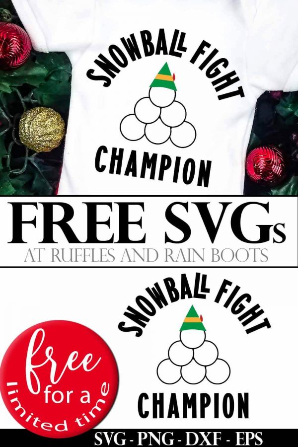 Snowball Fight SVG on onesie on holiday background with ornaments and pine