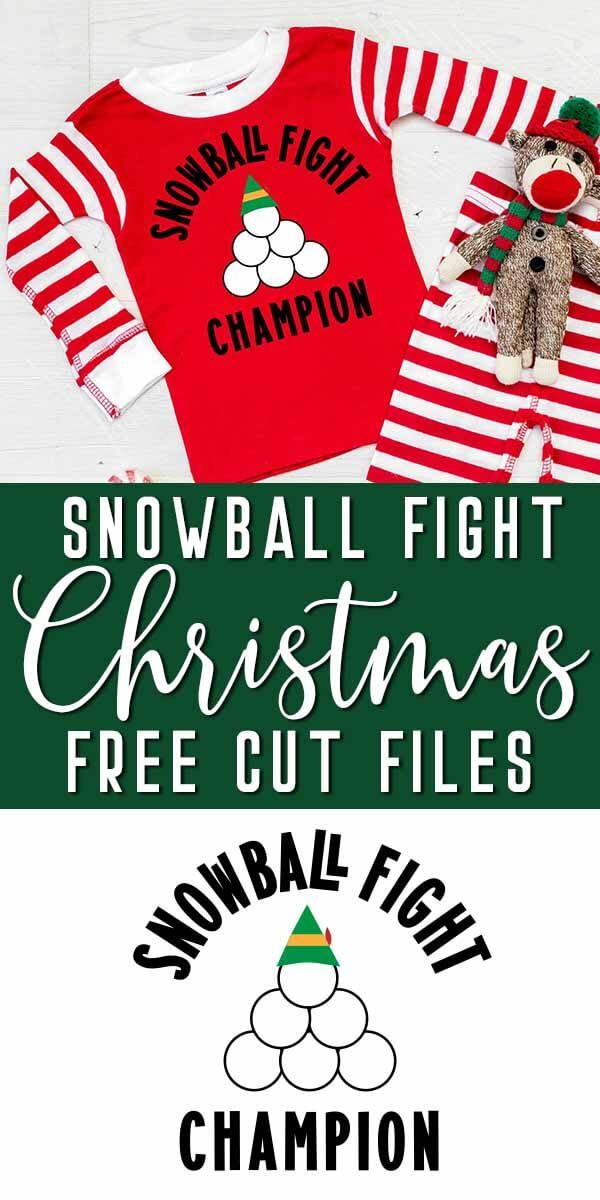 adorable snowball fight champion svg on pajamas with text which reads Snowball Fight Christmas free cut files