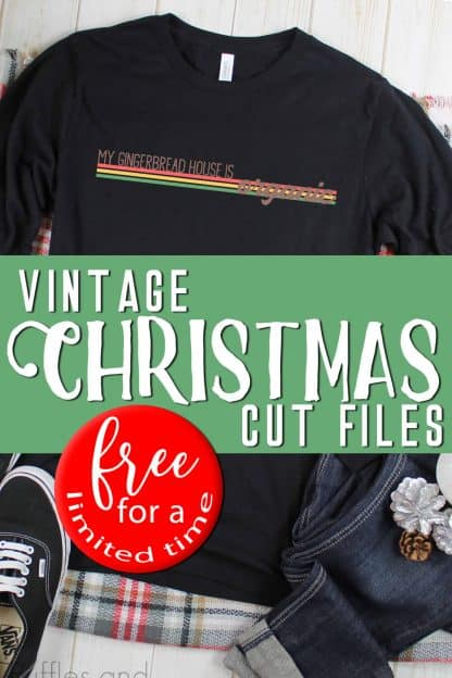 My gingerbread house is organic vintage hipster svg on black t shirt with text which reads vintage Christmas cut files