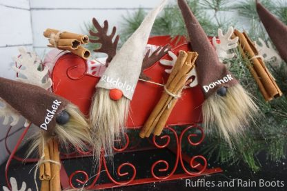close up of Santa reindeer gnome garland on black and white background with red sleigh and holiday greenery