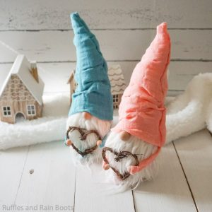 square image of no sew gnome pattern made into two bearded gnomes