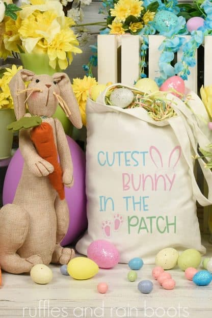 Easter tote bag ideas made with SVG file for Cricut