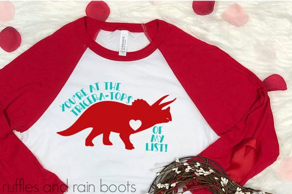 adorable free dinosaur cut file for Cricut for Valentine's Day from Ruffles and Rain Bootsain Boots