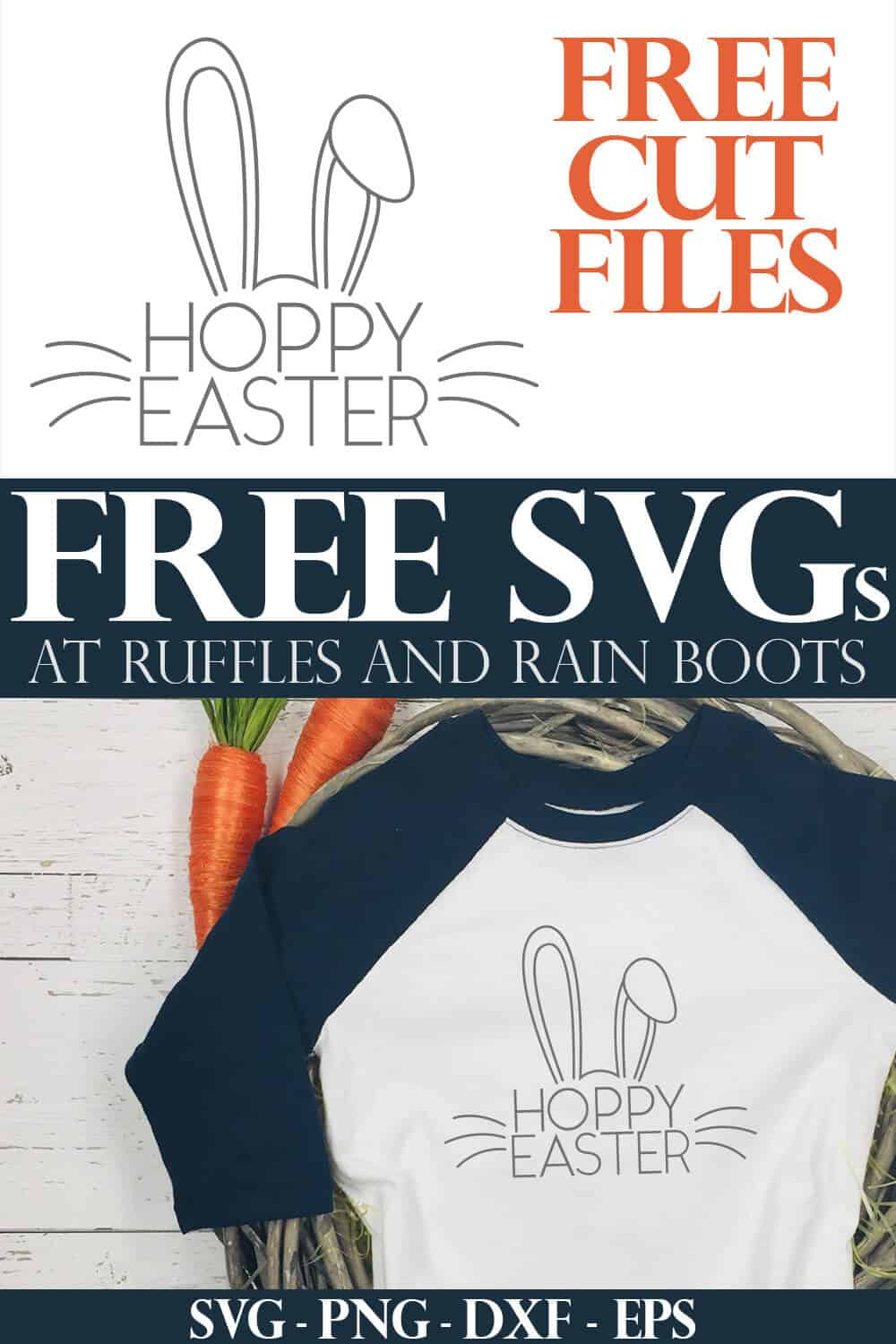 blue raglan t shirt made with free Easter svg with text which reads free svgs at ruffles and rain boots