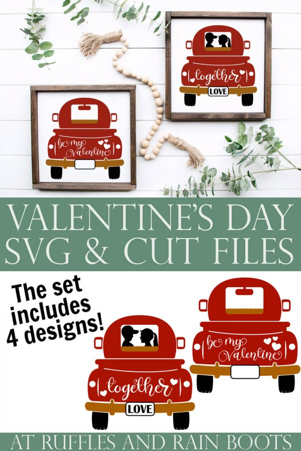 collage of signs made with truck cut files with text which reads valentine's day svg and cut files