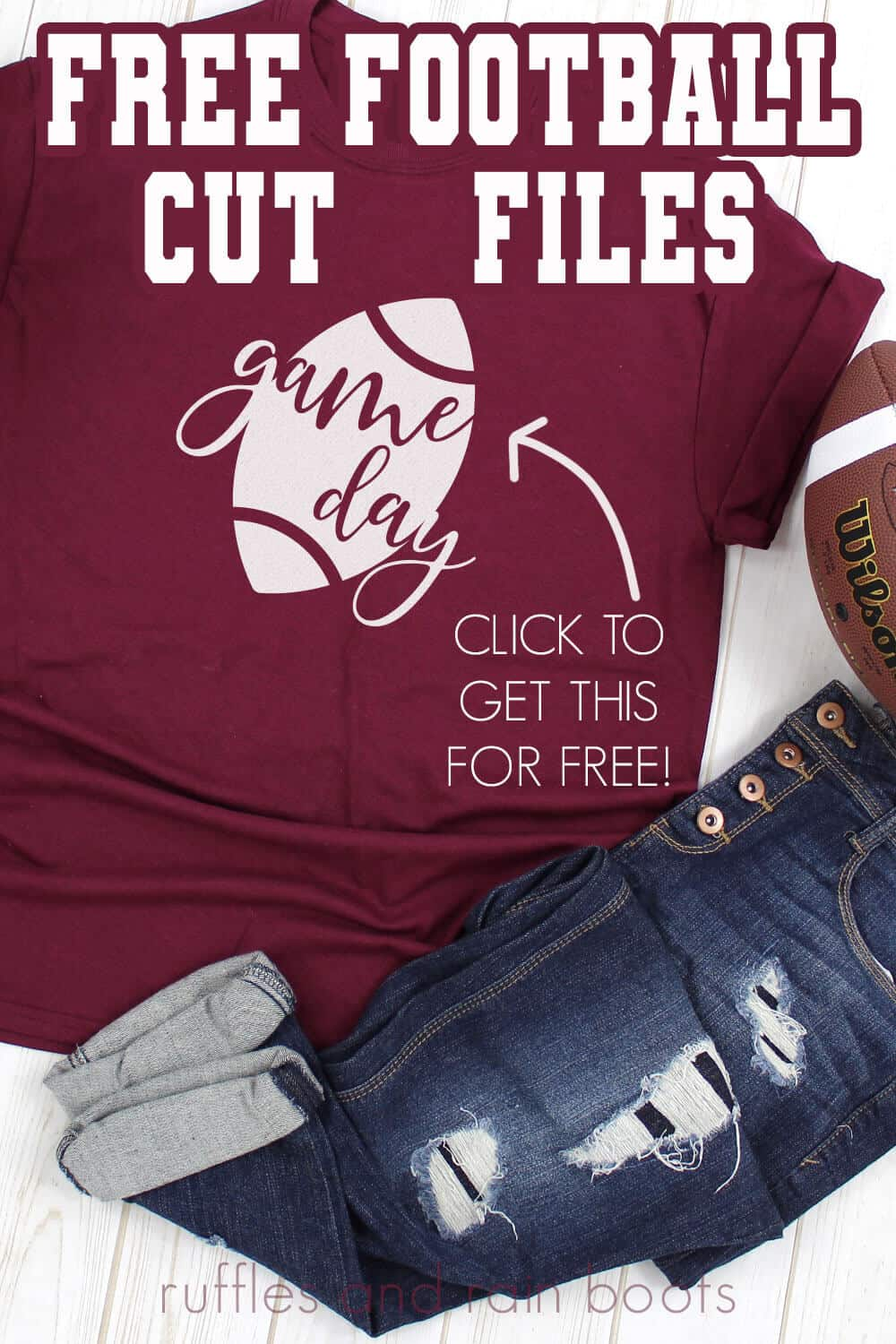 game day svg on maroon t shirt with text which reads free football cut files for Cricut