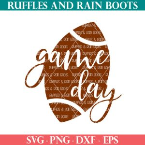 football game day svg on white background from Ruffles and Rain Boots with text which reads svg png dxf eps
